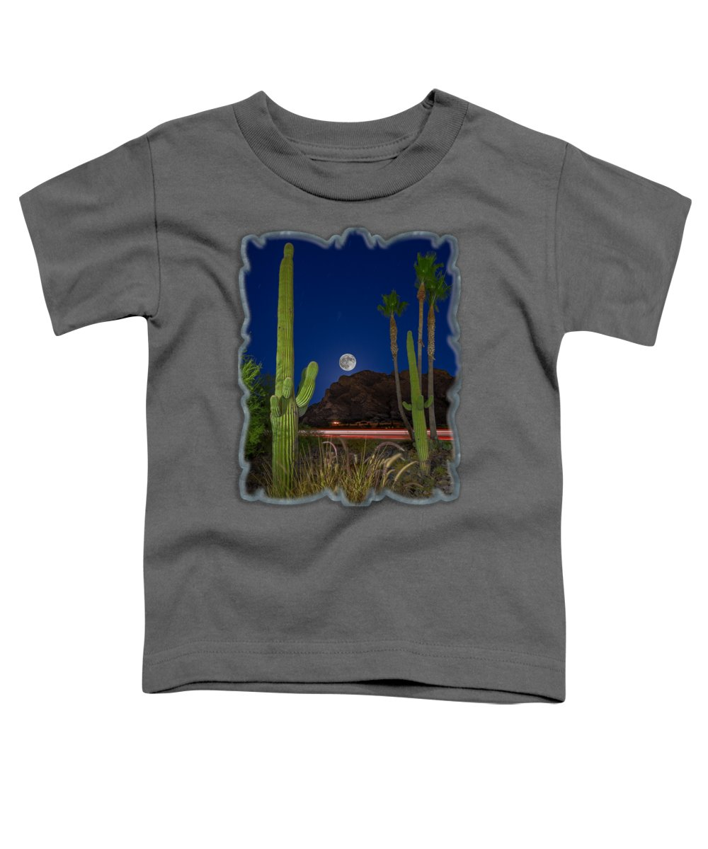 Arizona Toddler T-Shirt featuring the photograph Pusch Ridge Full Moon V30 by Mark Myhaver
