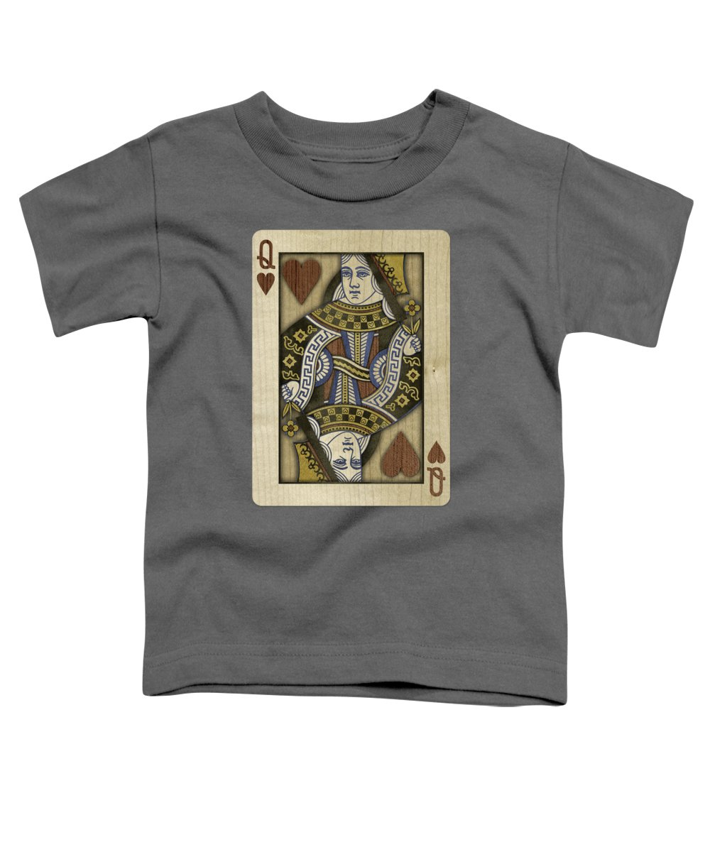 Boards Toddler T-Shirt featuring the photograph Queen Of Hearts In Wood by YoPedro