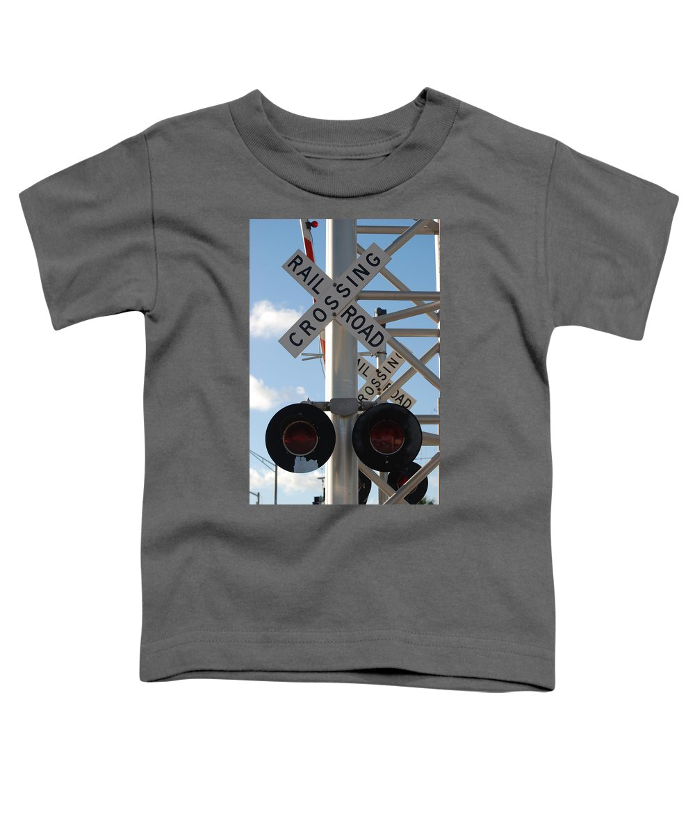 Train Toddler T-Shirt featuring the photograph R X R Crossing by Rob Hans
