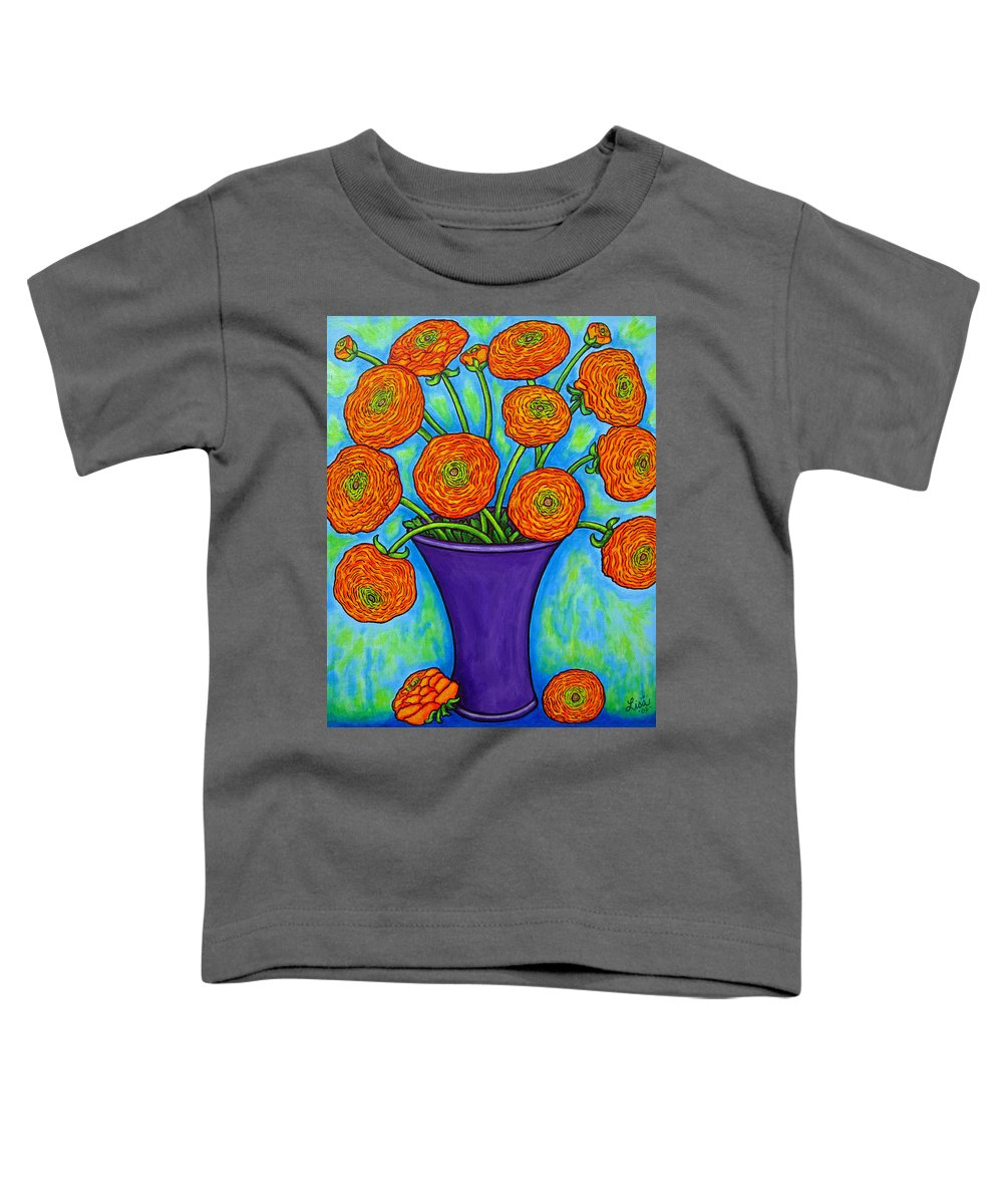 Green Toddler T-Shirt featuring the painting Radiant Ranunculus by Lisa Lorenz