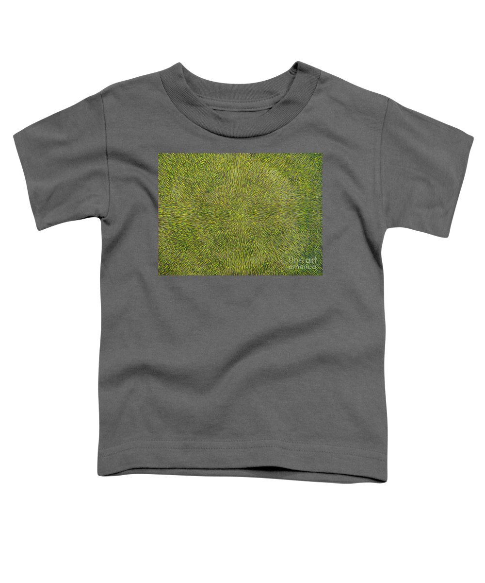 Abstract Toddler T-Shirt featuring the painting Radiation With Green With Yellow by Dean Triolo