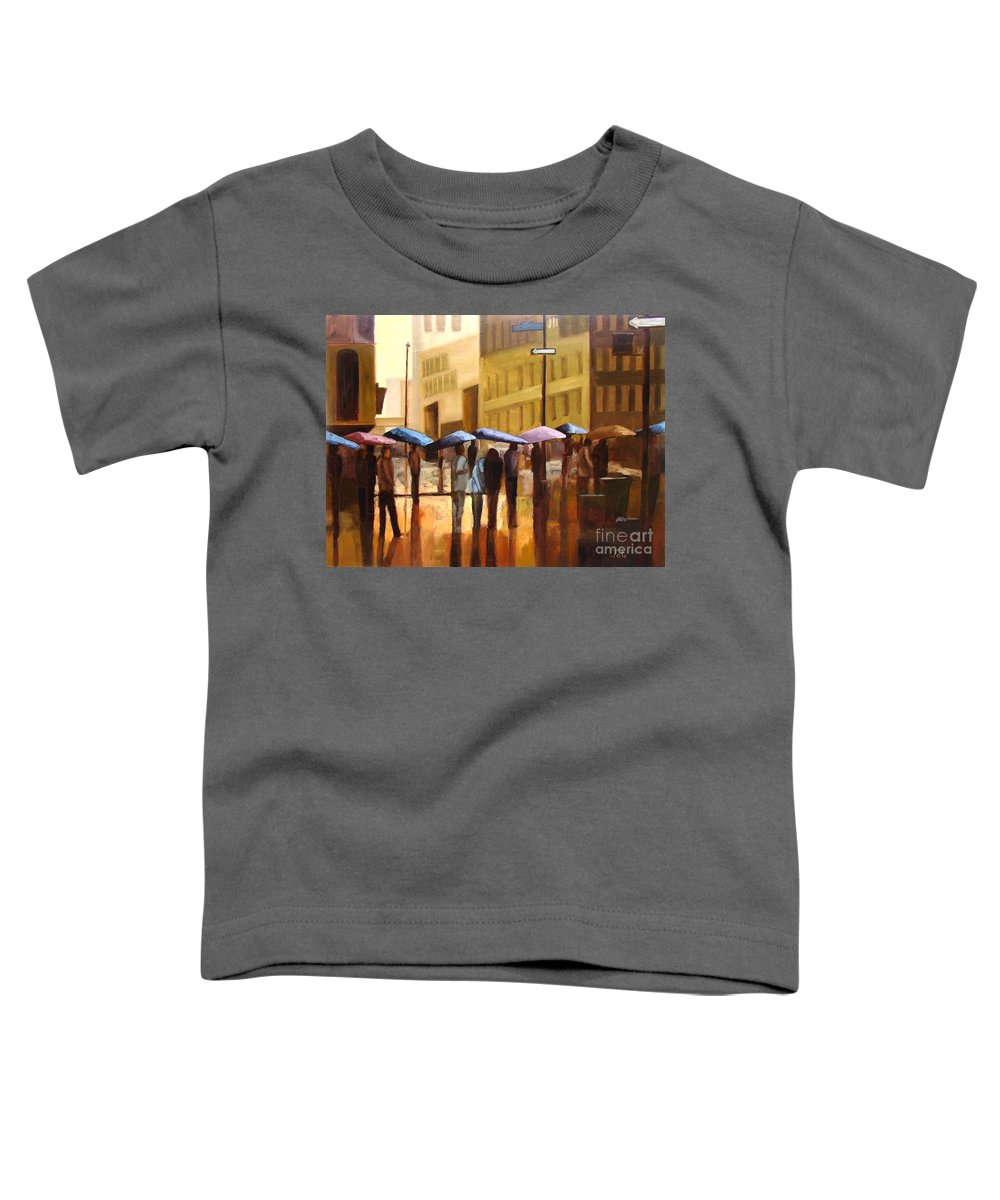 Cityscape Toddler T-Shirt featuring the painting Rain In Manhattan Number Seventeen by Tate Hamilton