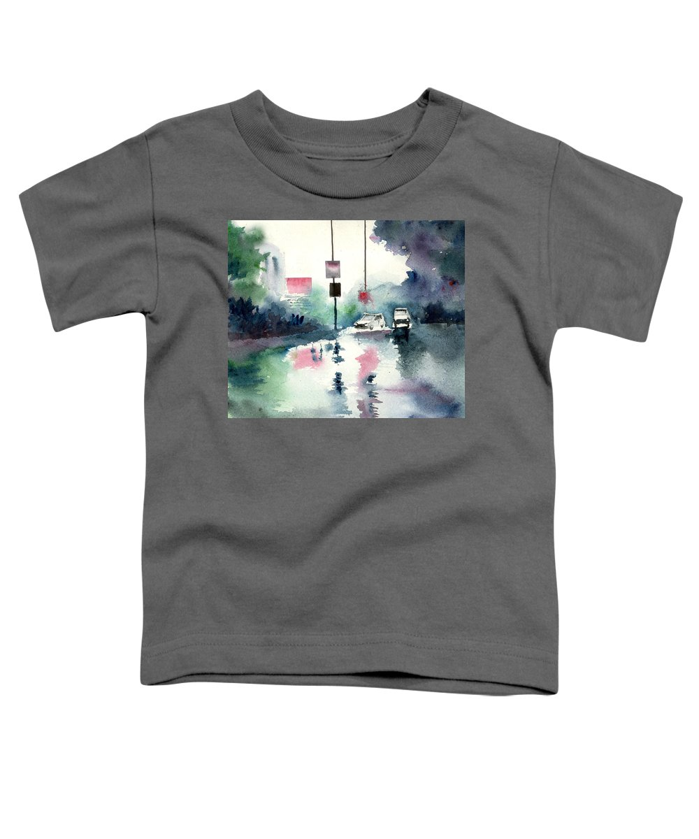 Nature Toddler T-Shirt featuring the painting Rainy Day by Anil Nene