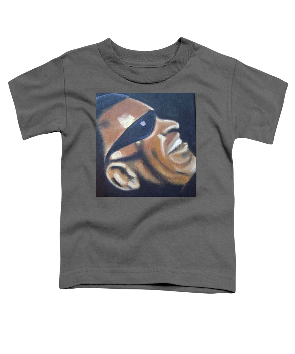 Ray Charles Toddler T-Shirt featuring the painting Ray Charles by Toni Berry
