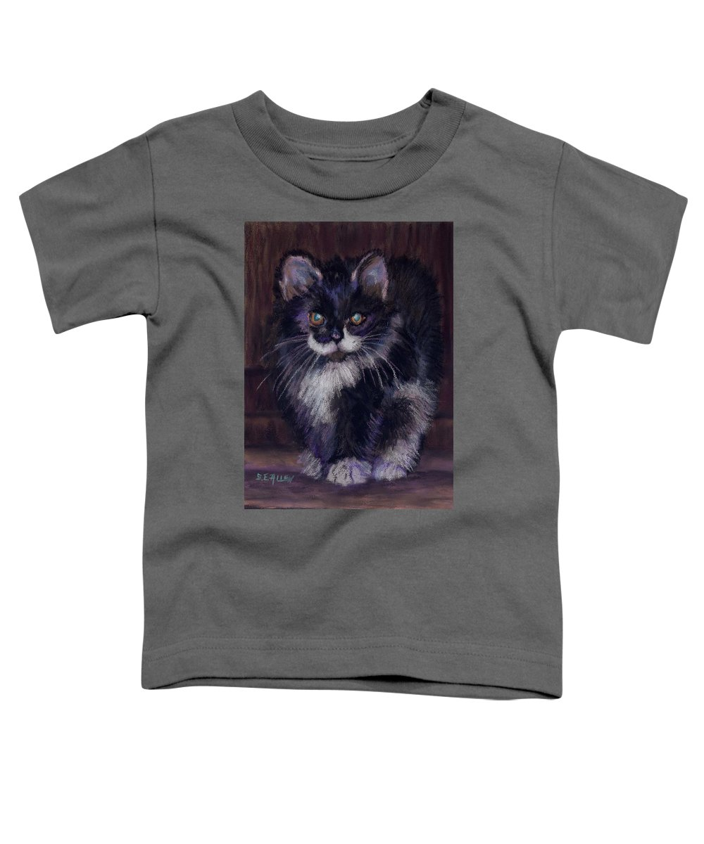 Kitten Toddler T-Shirt featuring the painting Ready For Trouble by Sharon E Allen