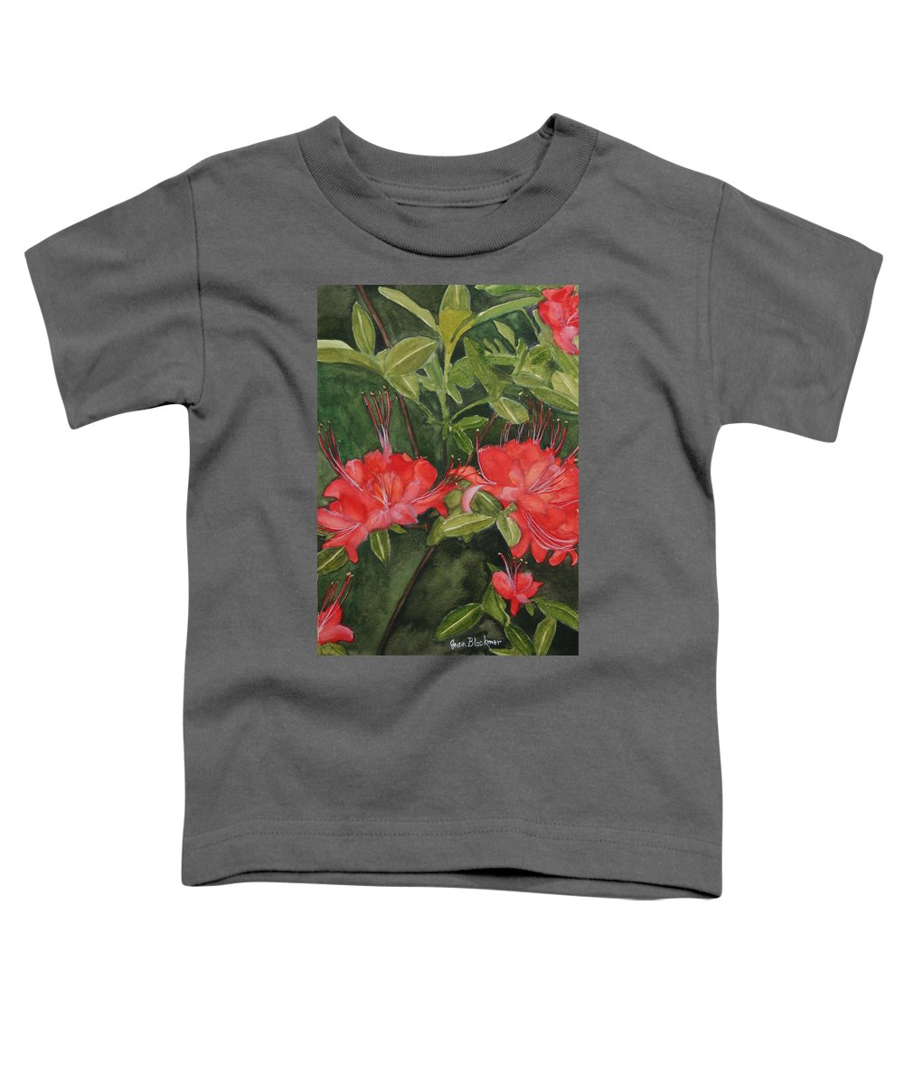 Flowers Toddler T-Shirt featuring the painting Red Blooms On The Parkway by Jean Blackmer