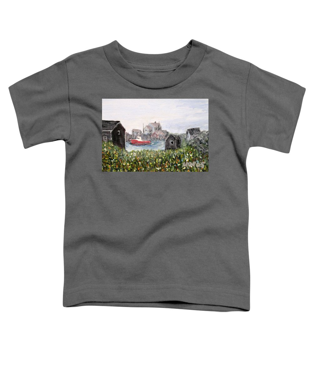 Red Boat Toddler T-Shirt featuring the painting Red Boat In Peggys Cove Nova Scotia by Ian MacDonald