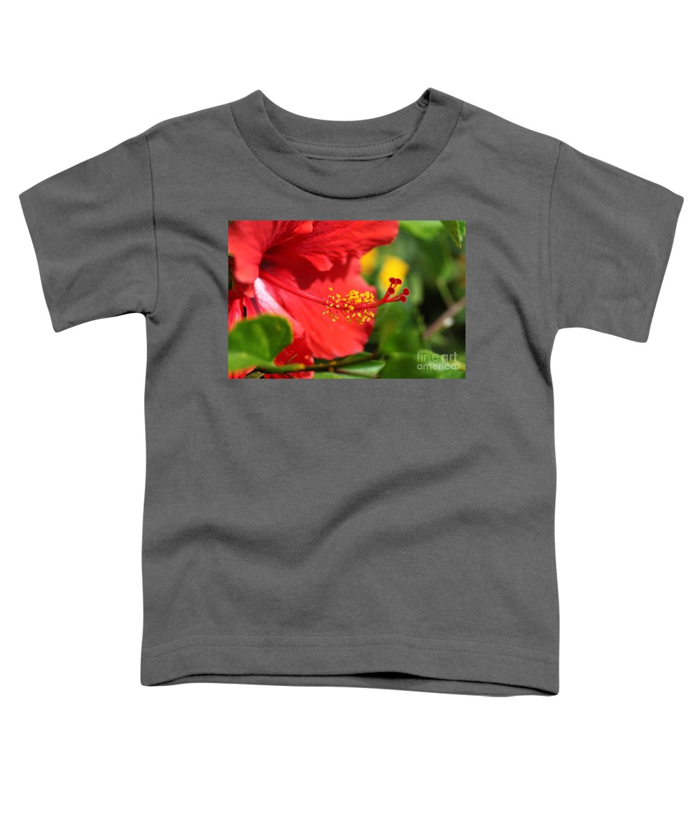 Flowers Toddler T-Shirt featuring the photograph Red Hibiscus And Green by Nadine Rippelmeyer