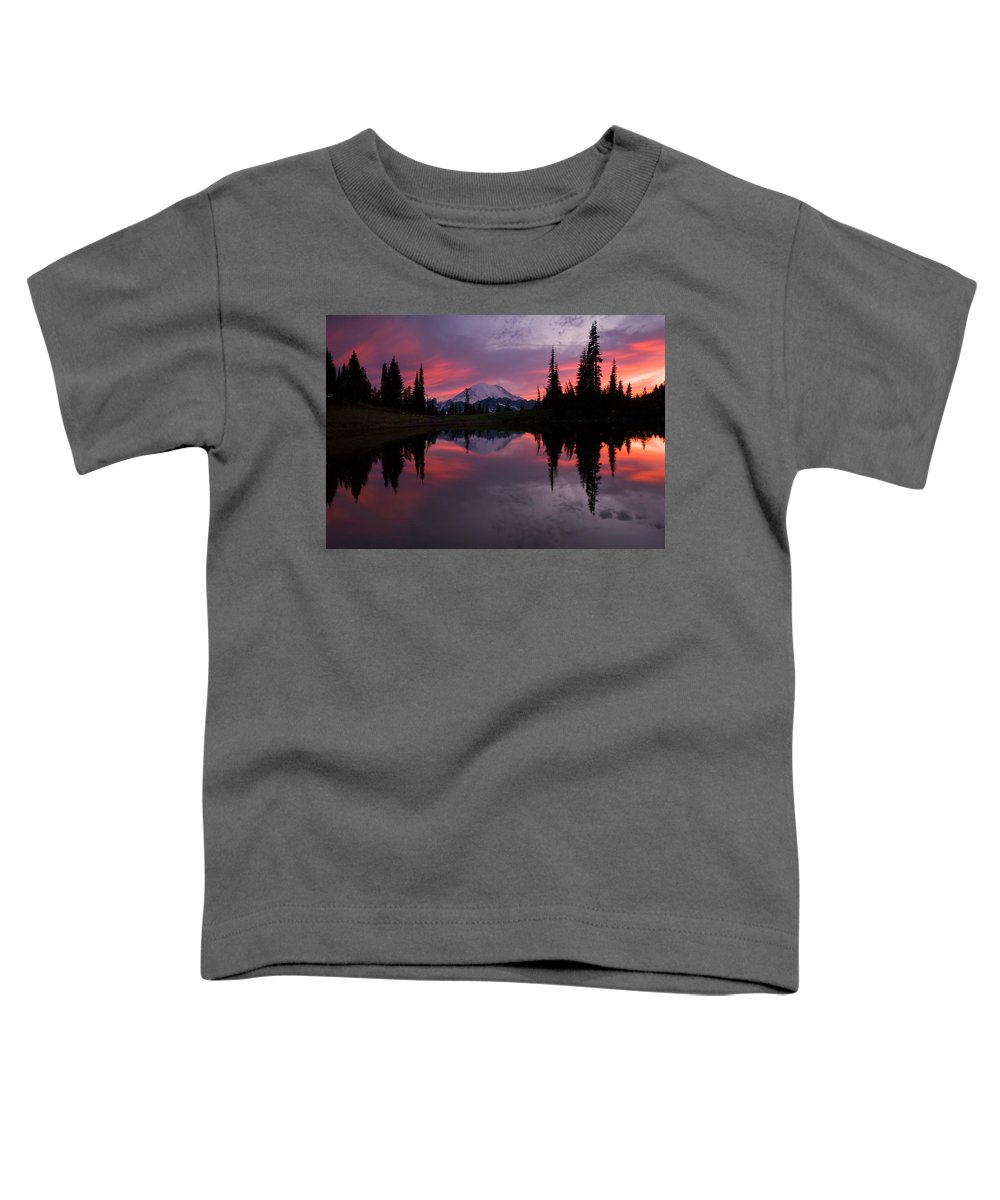 Rainier Toddler T-Shirt featuring the photograph Red Sky At Night by Mike Dawson