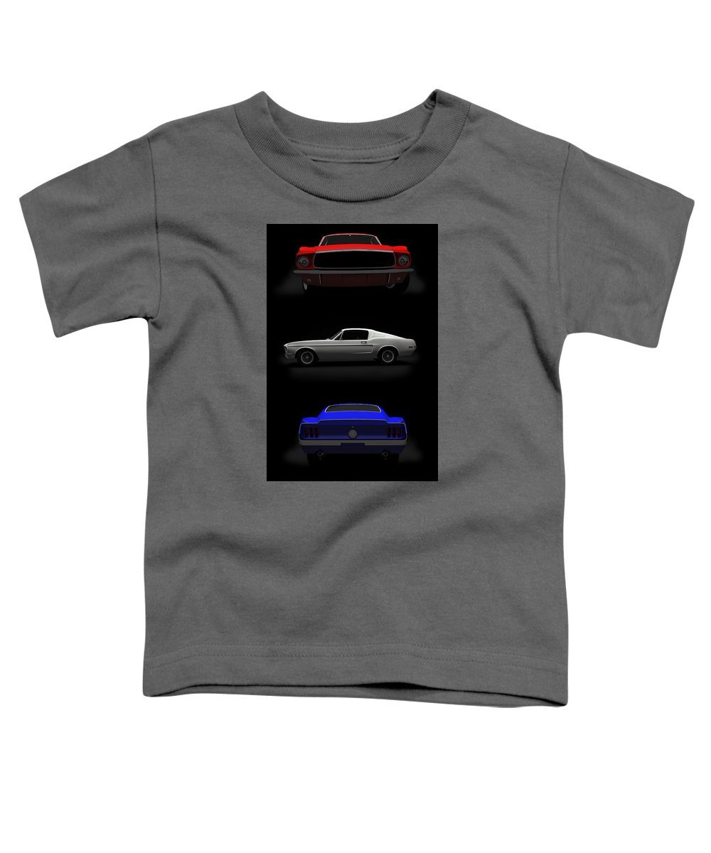 Blue Toddler T-Shirt featuring the digital art Red White Blue Mustang 2 by Brainwave Pictures