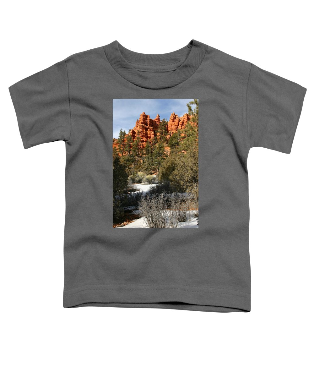 Red Rocks Toddler T-Shirt featuring the photograph Redrock Winter by Nelson Strong