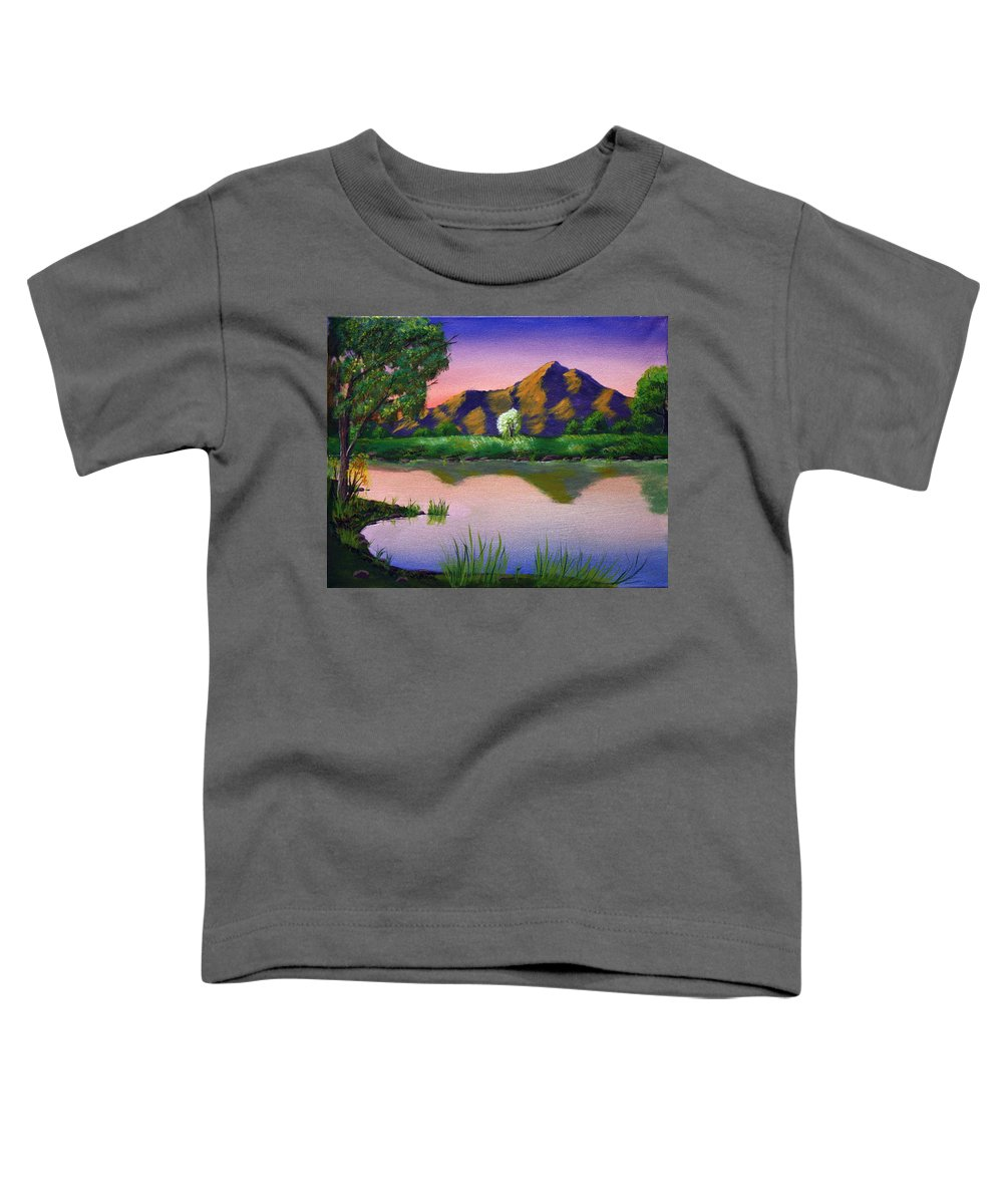 Landscape Toddler T-Shirt featuring the painting Reflections In The Breeze by Dawn Blair