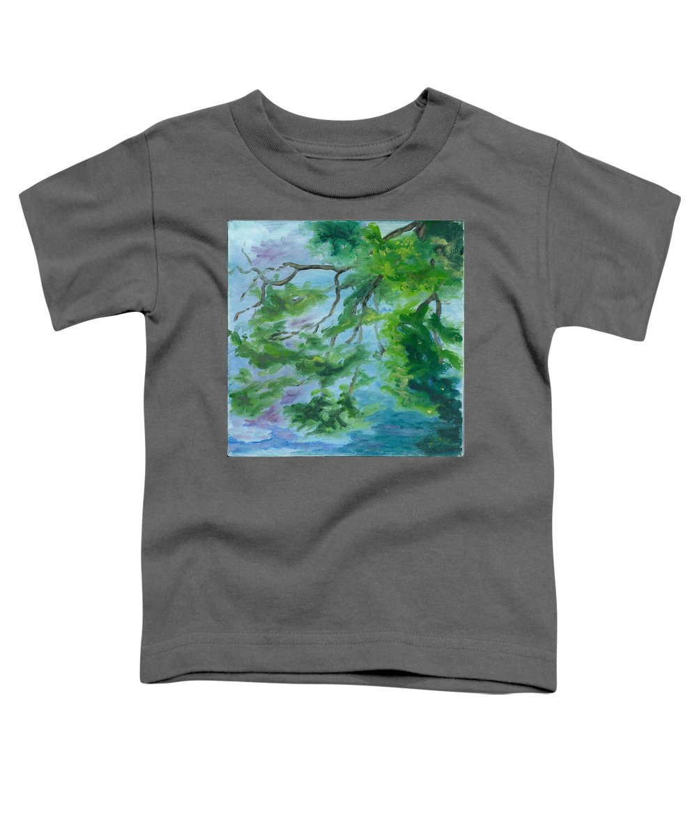 Reflections Toddler T-Shirt featuring the painting Reflections On The Mill Pond by Paula Emery