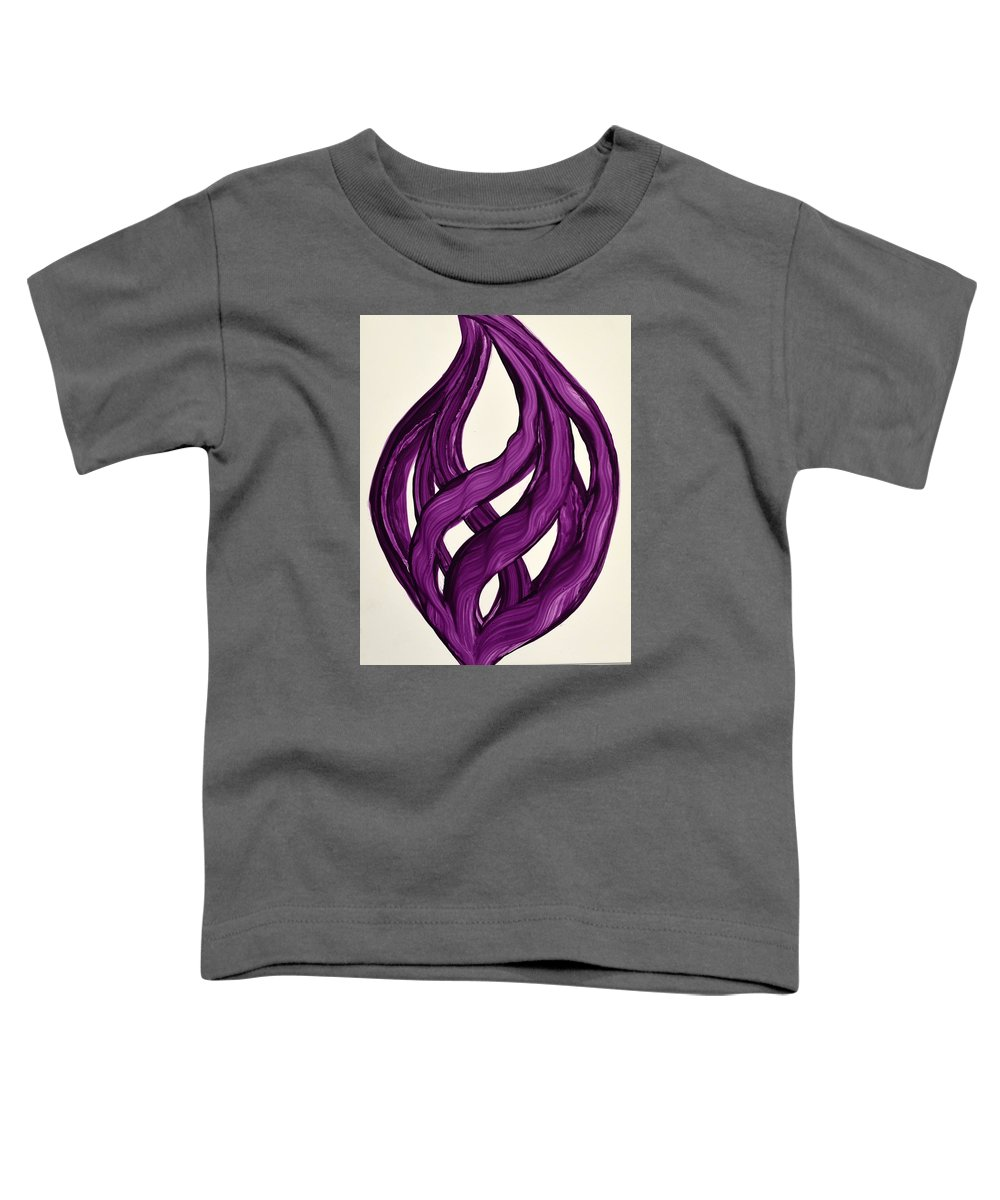 Abstract Art Yupo Comtemporary Modern Pop Romantic Vibrant Toddler T-Shirt featuring the painting Ribbons Of Love-violet by Manjiri Kanvinde