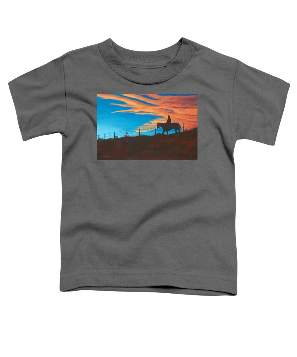 Cowboy Toddler T-Shirt featuring the painting Riding Fence by Jerry McElroy