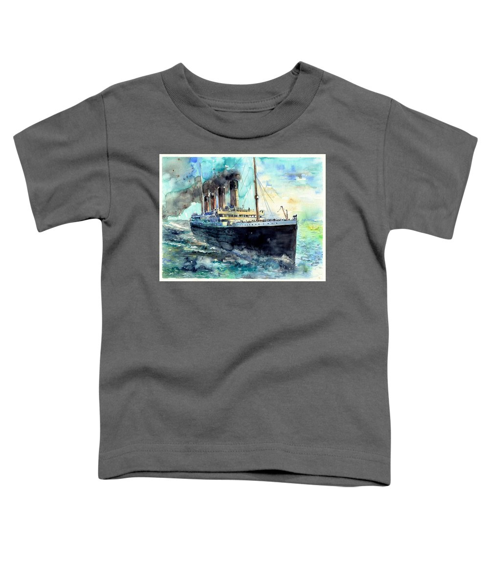 Rms Titanic Toddler T-Shirt featuring the painting Rms Titanic White Star Line Ship by Suzann Sines