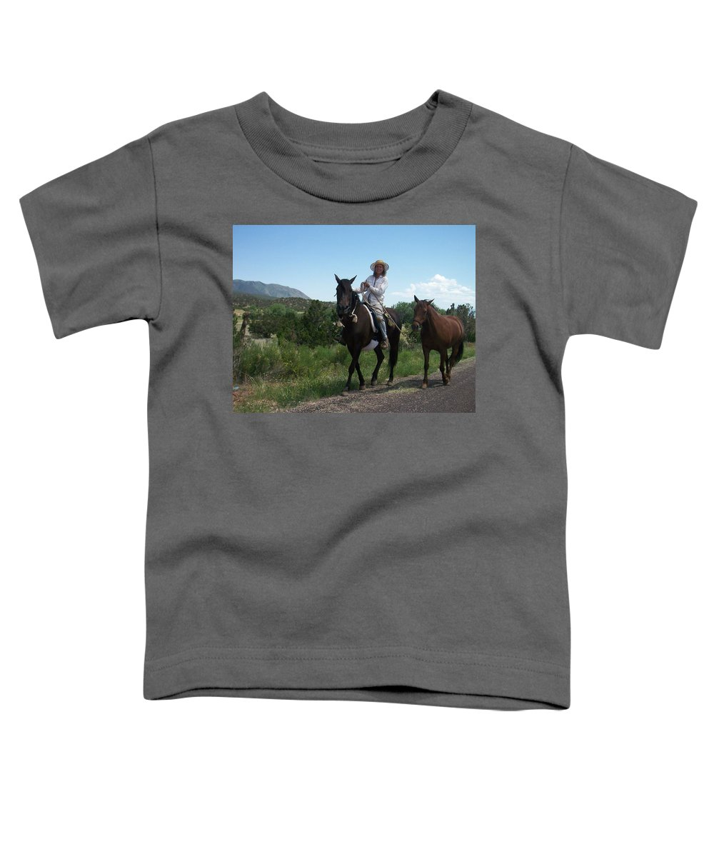 Horses Toddler T-Shirt featuring the photograph Roadside Horses by Anita Burgermeister