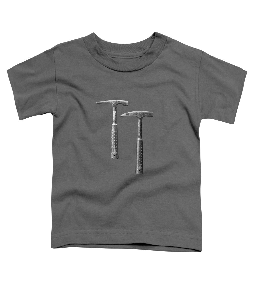 Art Toddler T-Shirt featuring the photograph Rock Hammers On Plywood In Bw 65 by YoPedro