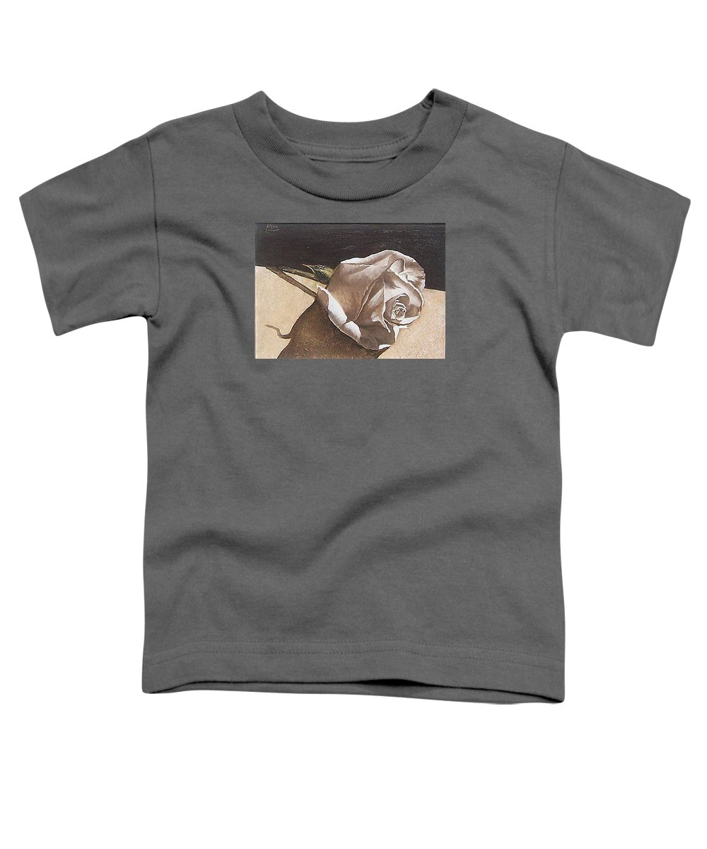 Rose Light Flower Floral Toddler T-Shirt featuring the painting Rose 1 by Natalia Tejera