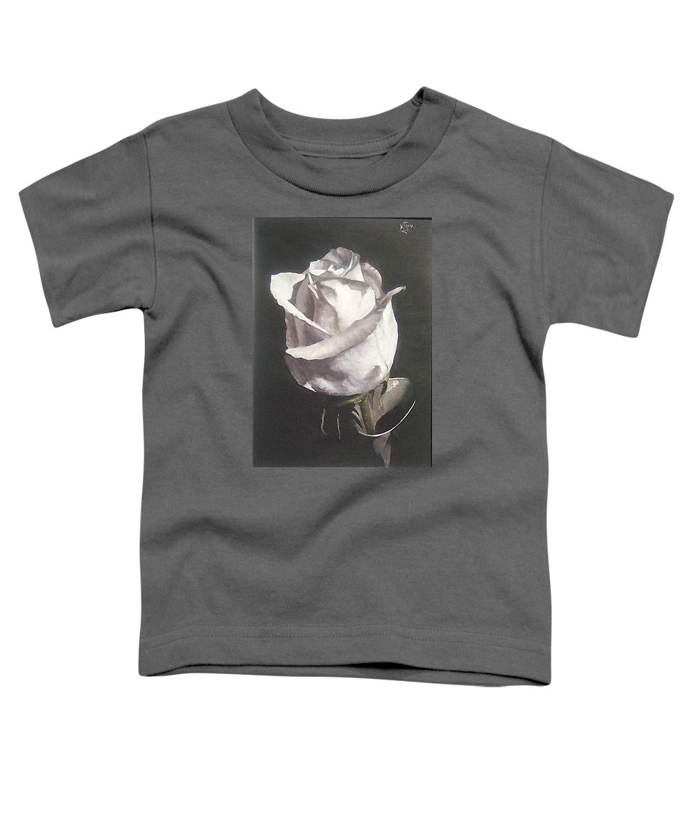 Rose Floral Nature White Flower Toddler T-Shirt featuring the painting Rose 2 by Natalia Tejera