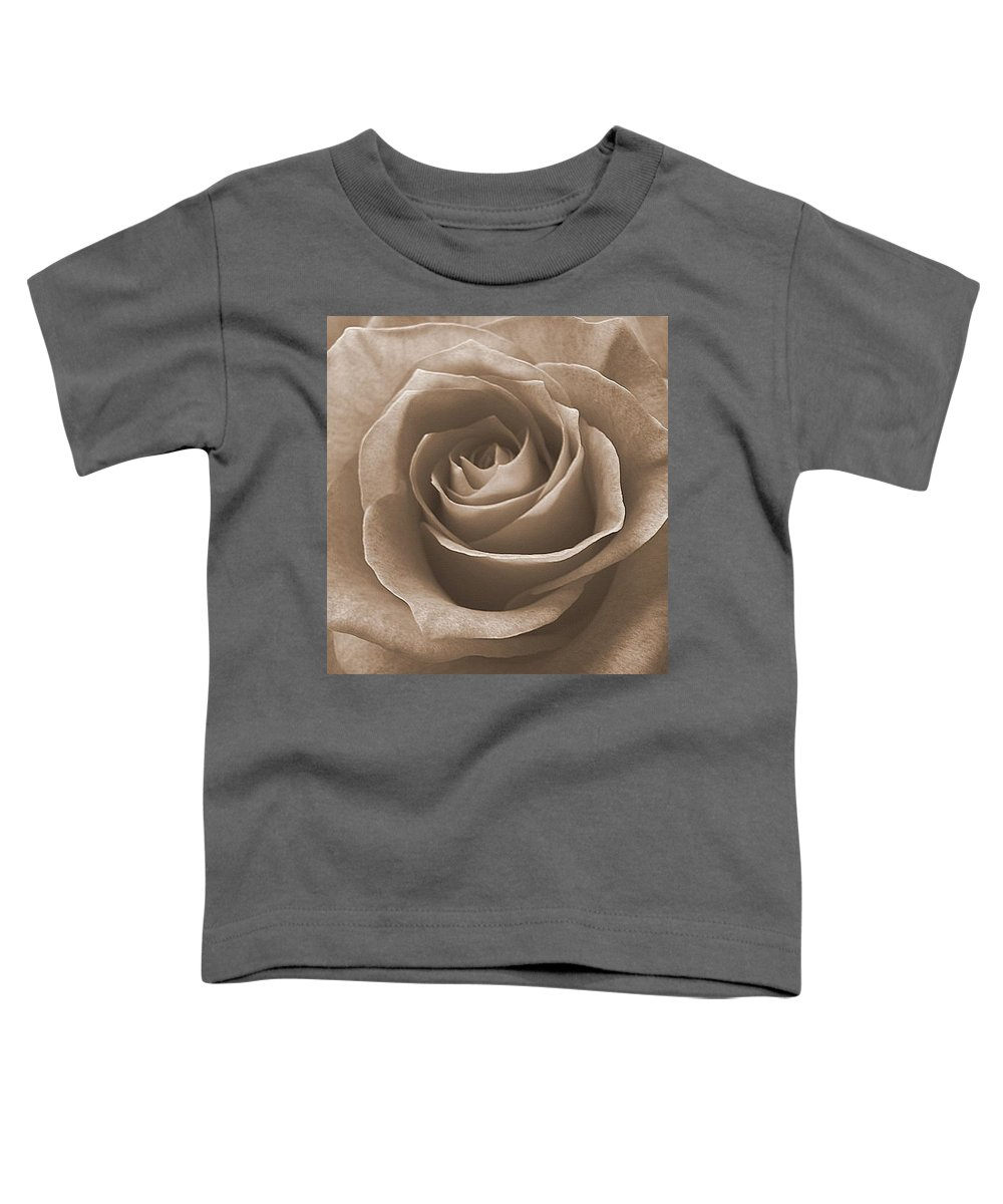 Rose Sepia Pedals Toddler T-Shirt featuring the photograph Rose In Sepia by Luciana Seymour