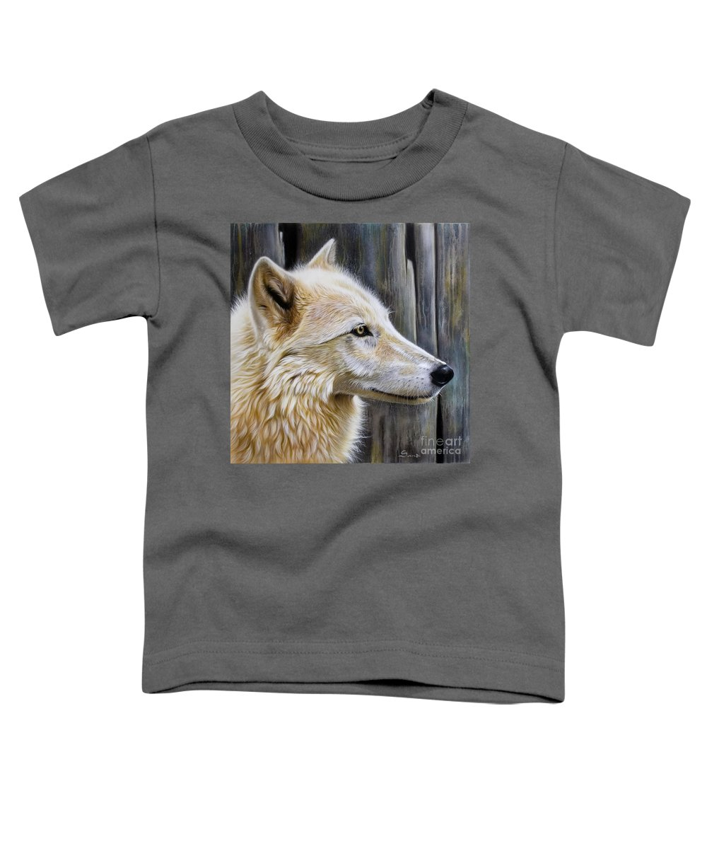 Wolves Toddler T-Shirt featuring the painting Rose by Sandi Baker