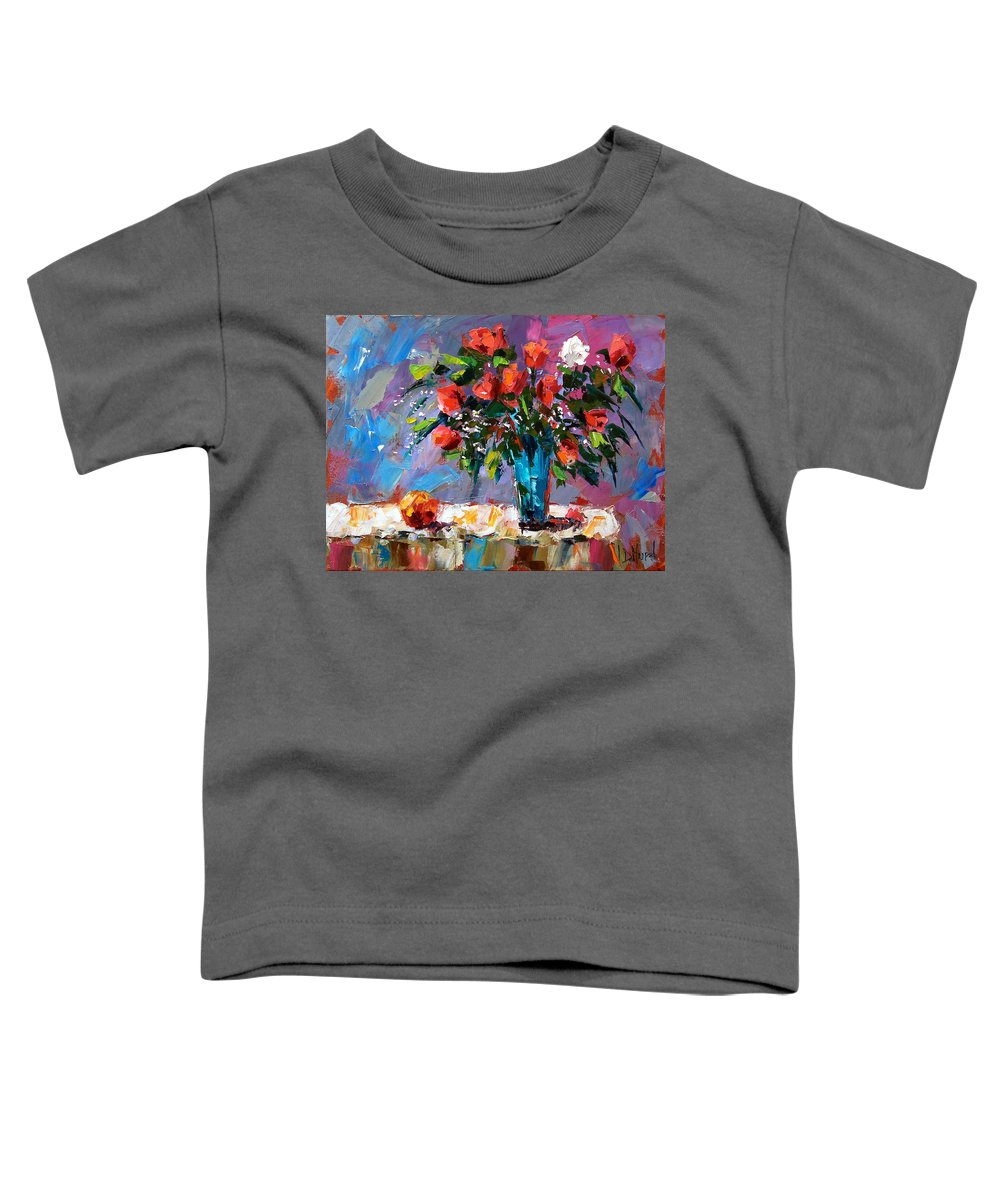 Flowers Toddler T-Shirt featuring the painting Roses And A Peach by Debra Hurd