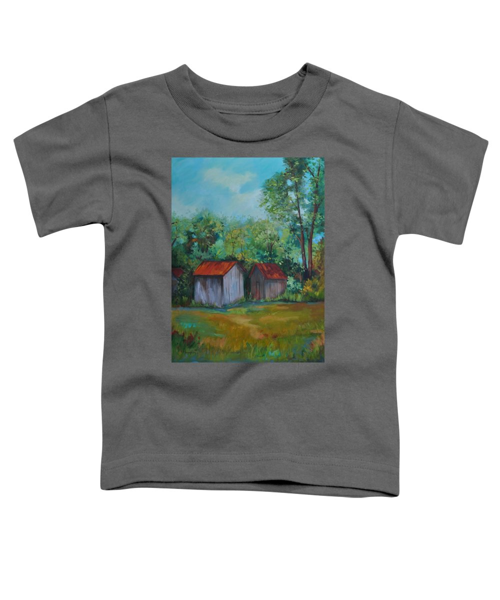 Outbuildings Toddler T-Shirt featuring the painting Rural Architecture by Ginger Concepcion