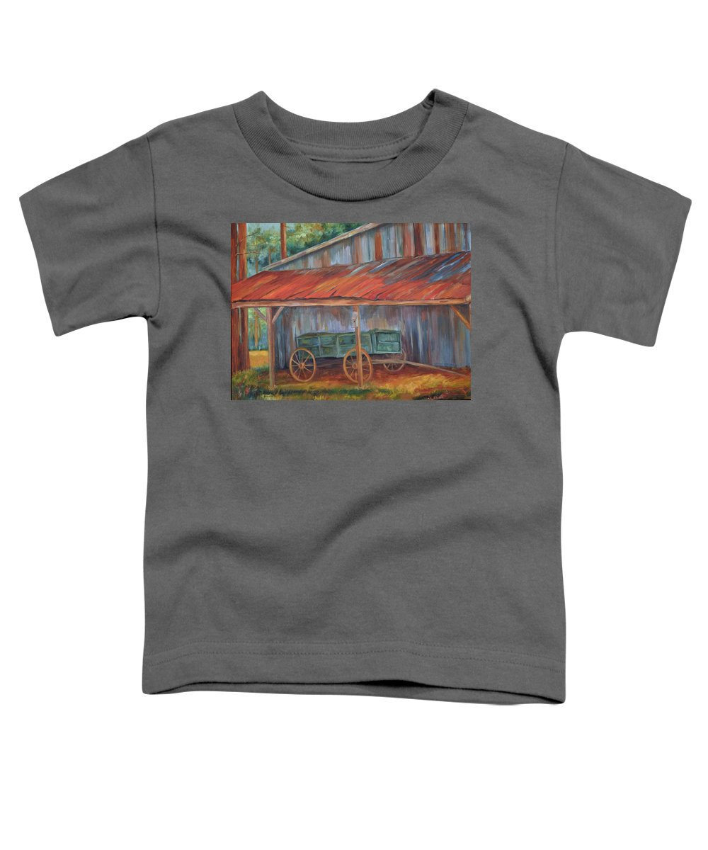 Old Wagons Toddler T-Shirt featuring the painting Rustification by Ginger Concepcion