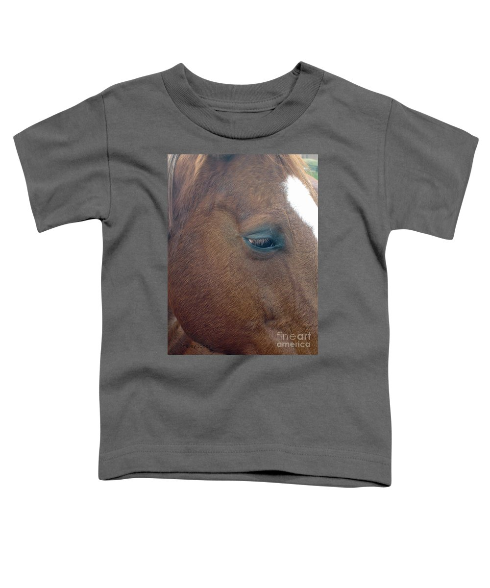 Horse Toddler T-Shirt featuring the photograph Sad Eyed by Shelley Jones