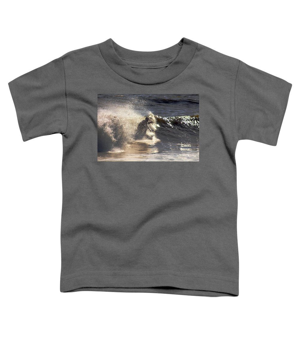 Clay Toddler T-Shirt featuring the photograph Salt Spray Surfing by Clayton Bruster