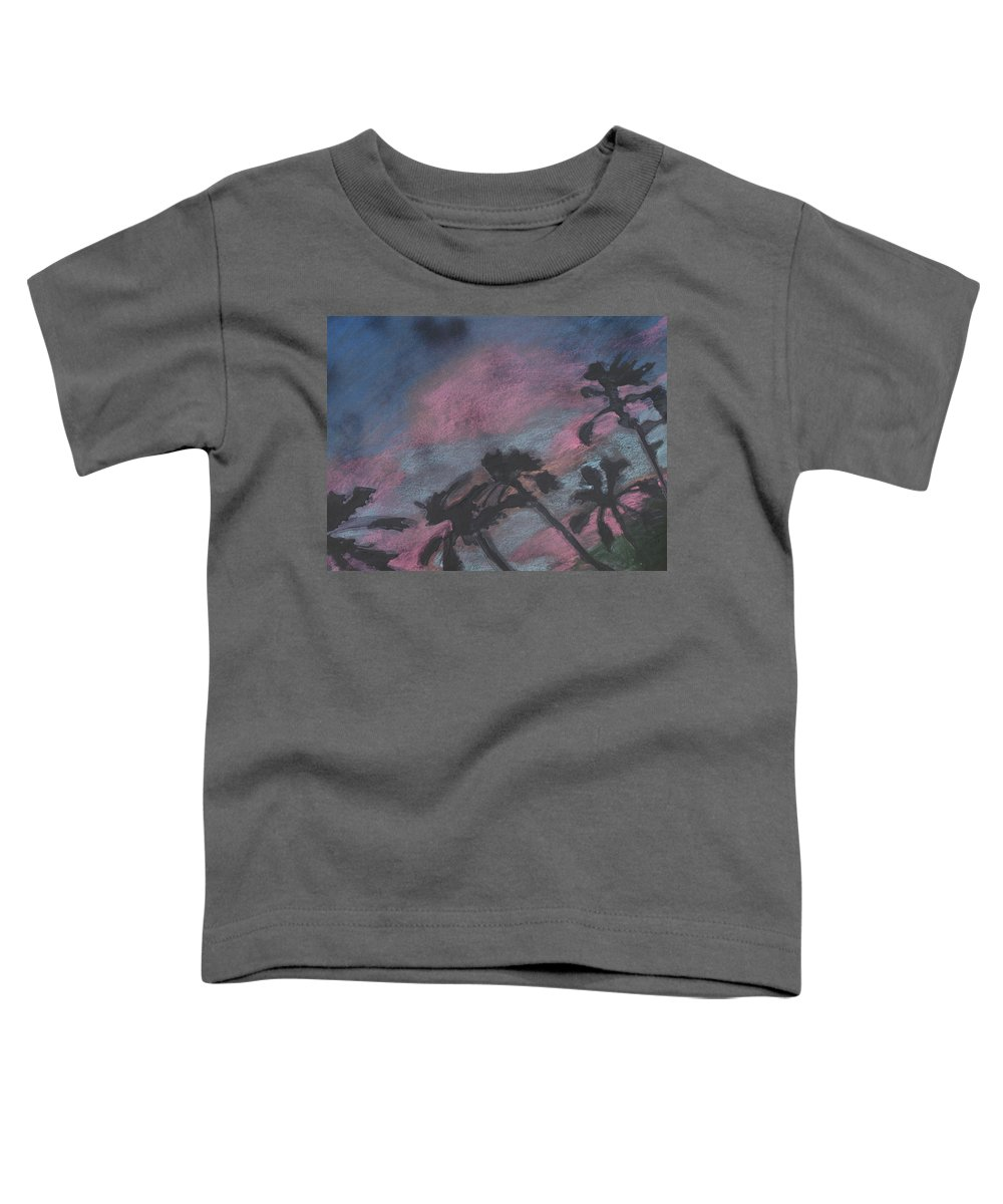 Contemporary Tree Landscapes Toddler T-Shirt featuring the drawing San Diego Palms by Leah Tomaino