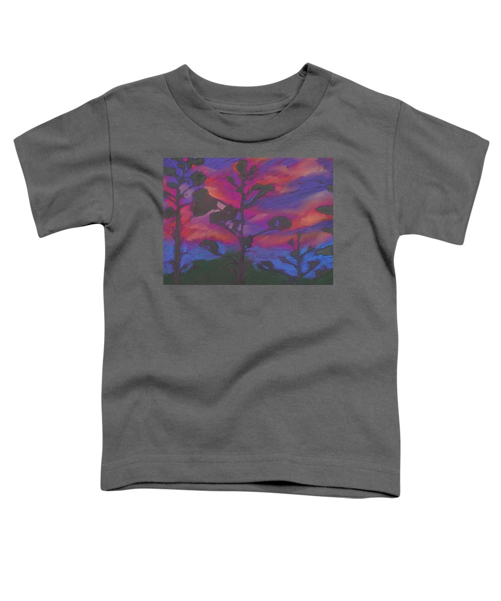 Contemporary Tree Landscape Toddler T-Shirt featuring the mixed media San Diego Sunset by Leah Tomaino