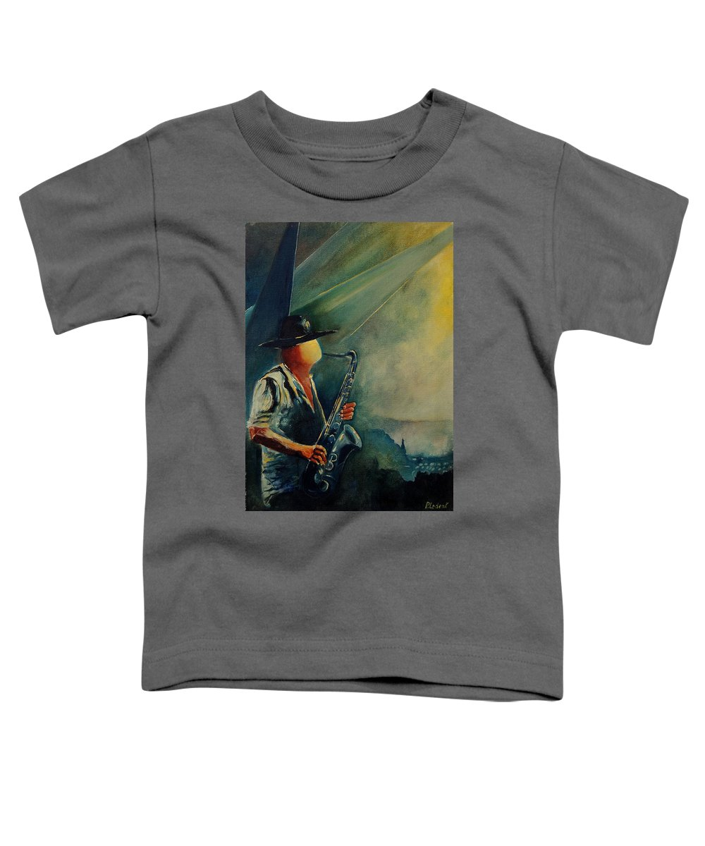 Music Toddler T-Shirt featuring the painting Sax Player by Pol Ledent