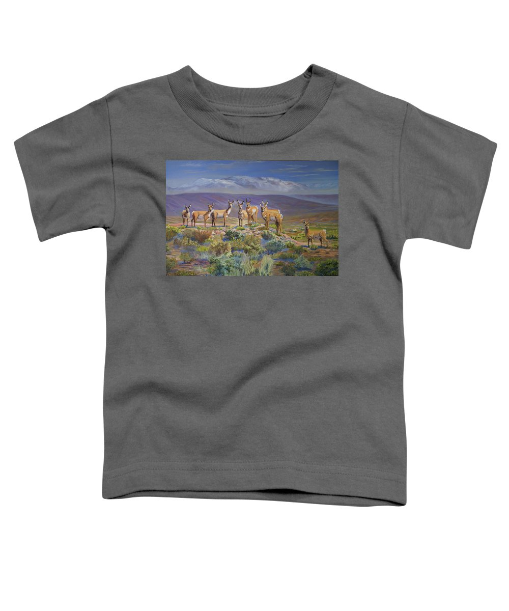 Antelope Toddler T-Shirt featuring the painting Say Cheese Antelope by Heather Coen