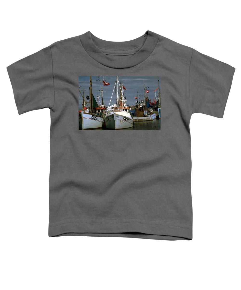 Scandinavian Toddler T-Shirt featuring the photograph Scandinavian Fisher Boats by Flavia Westerwelle