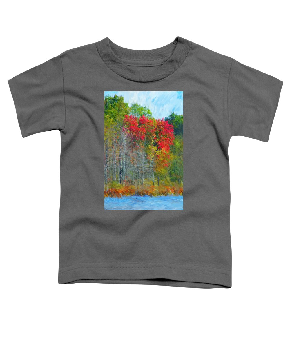 Landscape Toddler T-Shirt featuring the digital art Scarlet Autumn Burst by David Lane