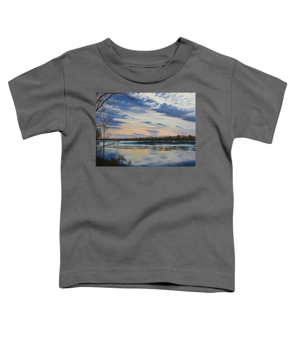 Clouds Toddler T-Shirt featuring the painting Scenic Overlook - Delaware River by Lea Novak