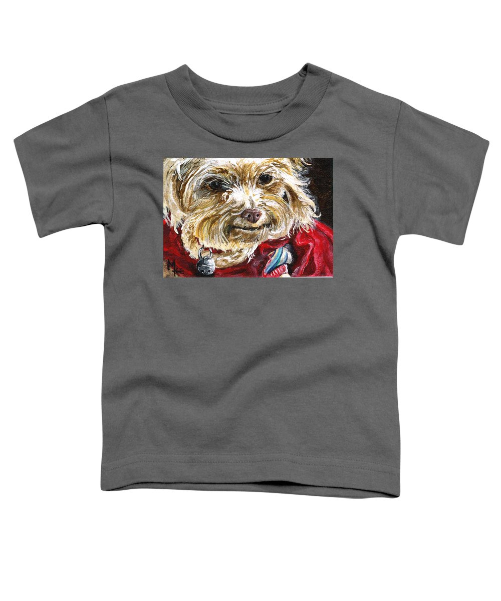 Charity Toddler T-Shirt featuring the painting Scooter From Muttville by Mary-Lee Sanders