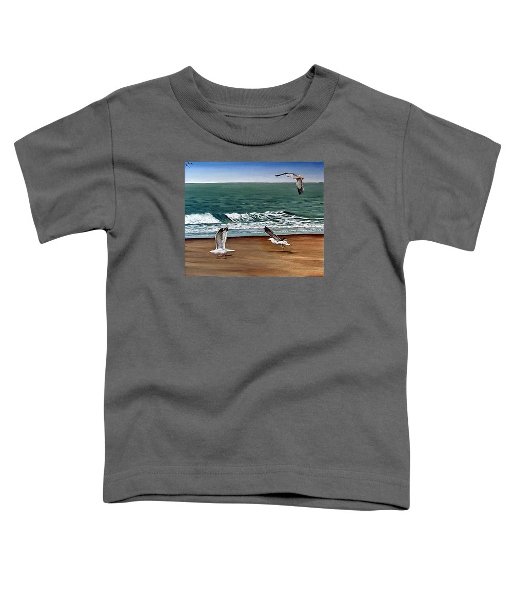 Seascape Toddler T-Shirt featuring the painting Seagulls 2 by Natalia Tejera