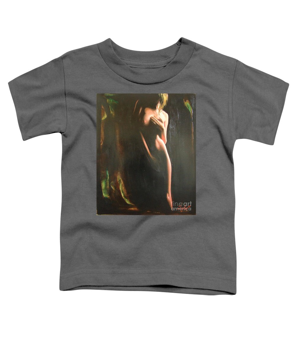 Art Toddler T-Shirt featuring the painting Secrets by Sergey Ignatenko