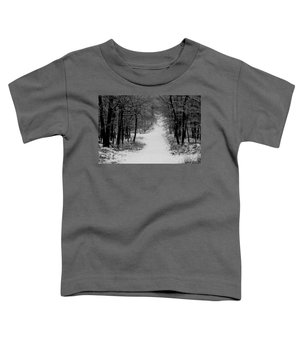 Snow Toddler T-Shirt featuring the photograph See Where It Leads. by Jean Macaluso