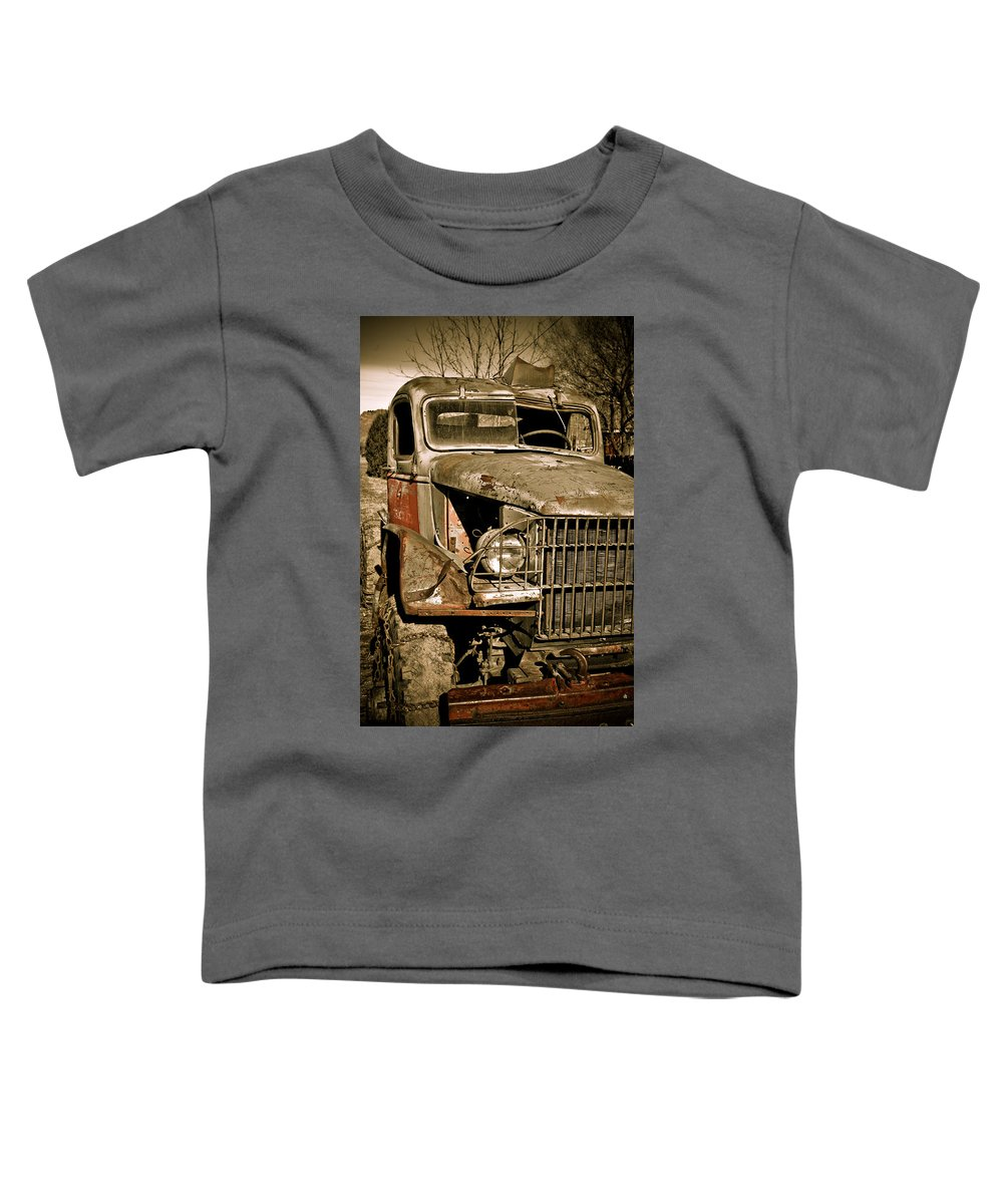 Old Vintage Antique Truck Worn Western Toddler T-Shirt featuring the photograph Seen Better Days by Marilyn Hunt