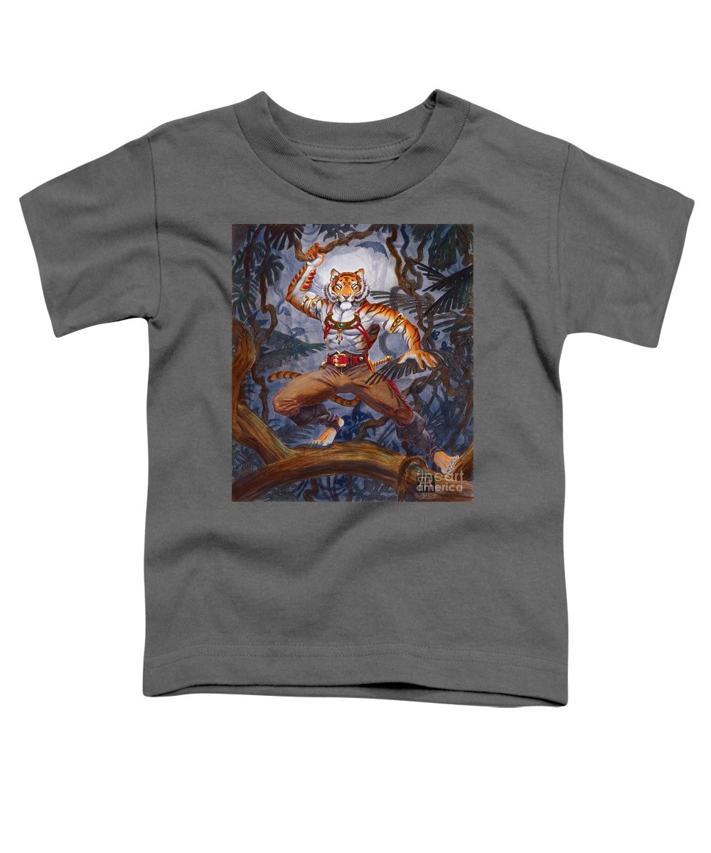 Cat Toddler T-Shirt featuring the painting Sense Dark by Melissa A Benson