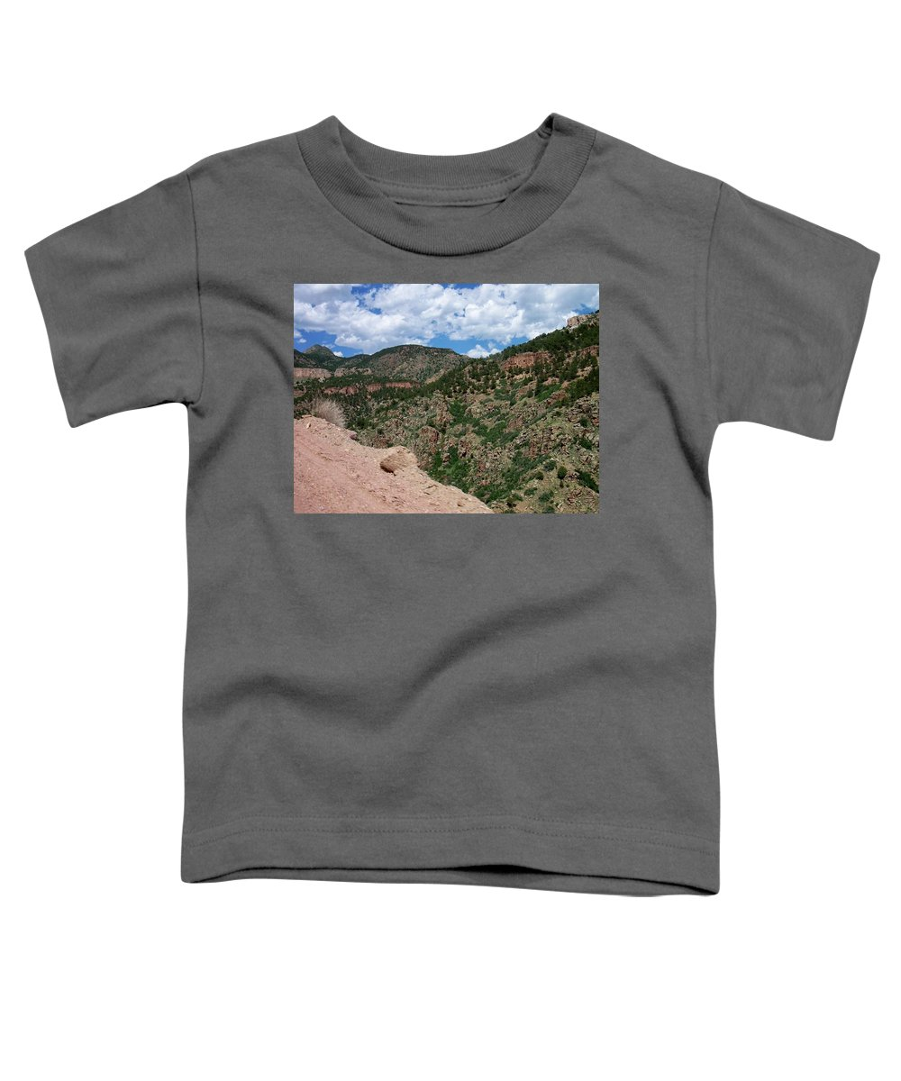 Shelf Road Toddler T-Shirt featuring the photograph Shelf Road Drop Off by Anita Burgermeister