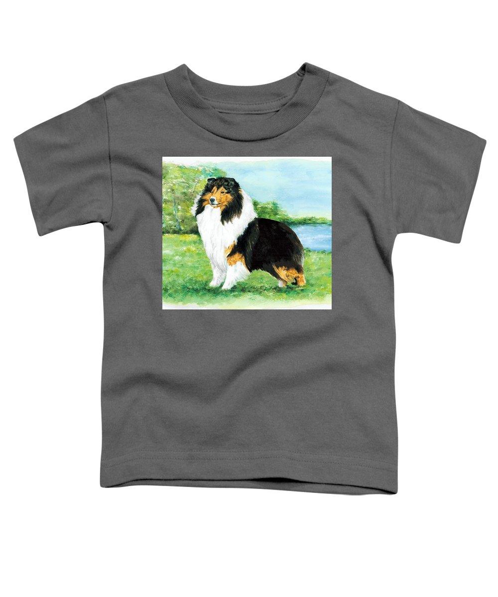 Shetland Sheepdog Toddler T-Shirt featuring the painting Sheltie Wait by Kathleen Sepulveda
