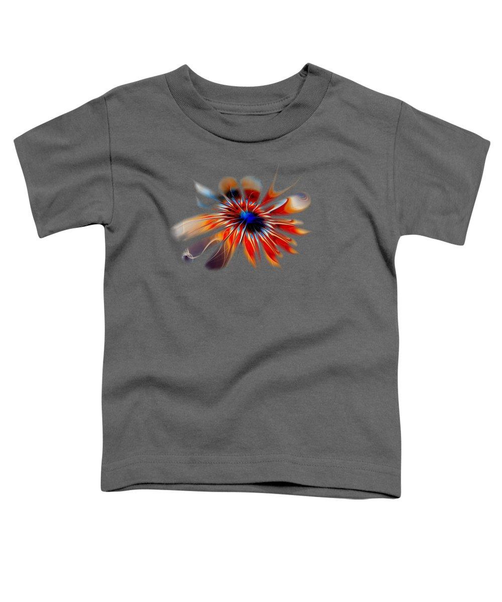 Shine Toddler T-Shirt featuring the digital art Shining Red Flower by Anastasiya Malakhova
