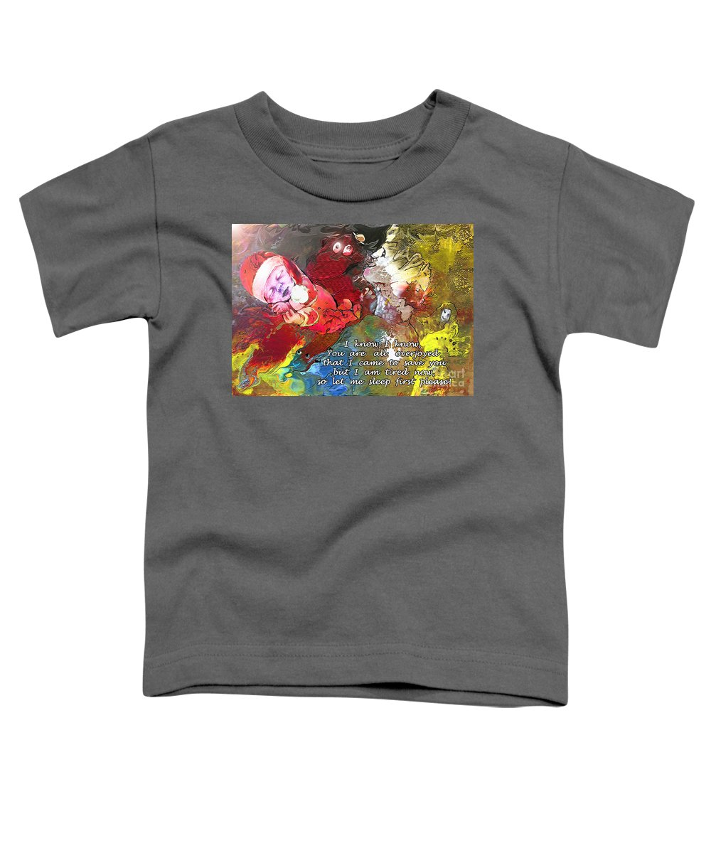 Messiah Painting Toddler T-Shirt featuring the painting Sleepig Messiah by Miki De Goodaboom