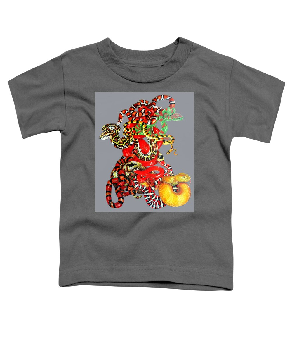 Reptile Toddler T-Shirt featuring the drawing Slither by Barbara Keith