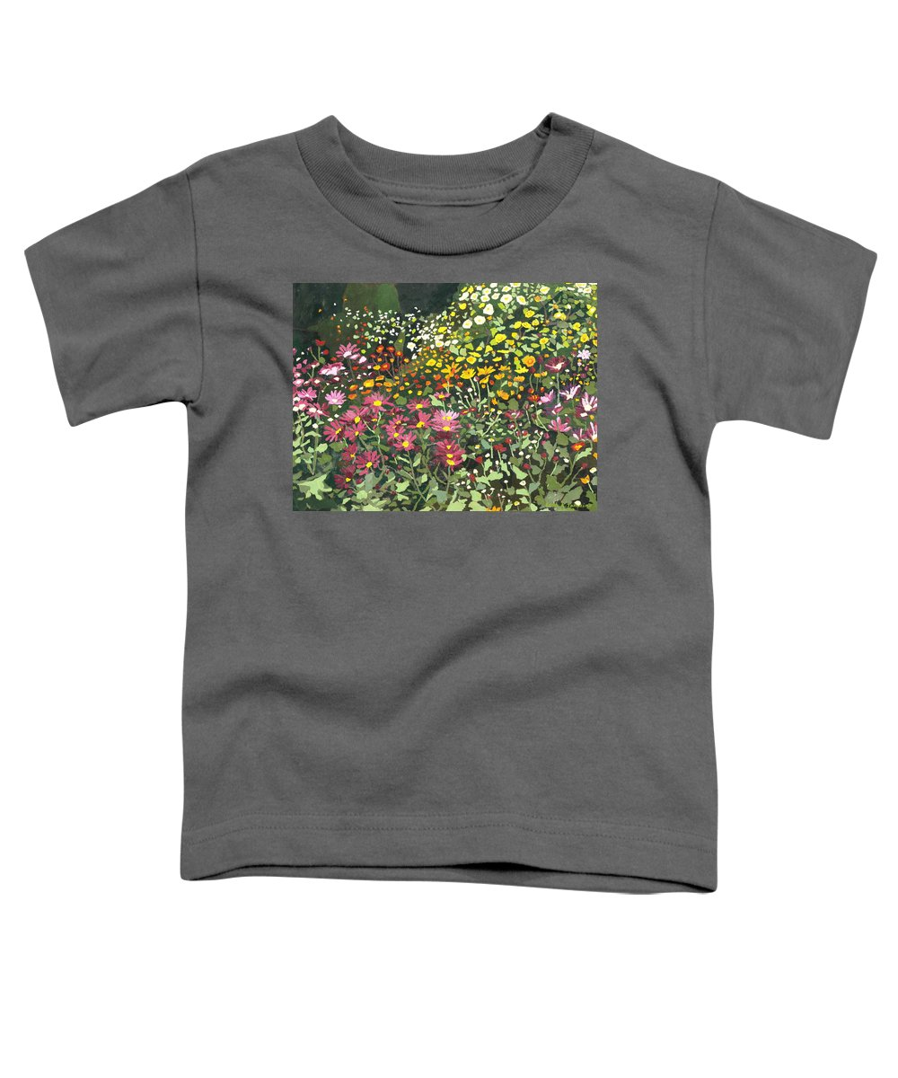 Floral Toddler T-Shirt featuring the painting Smith Mums by Leah Tomaino